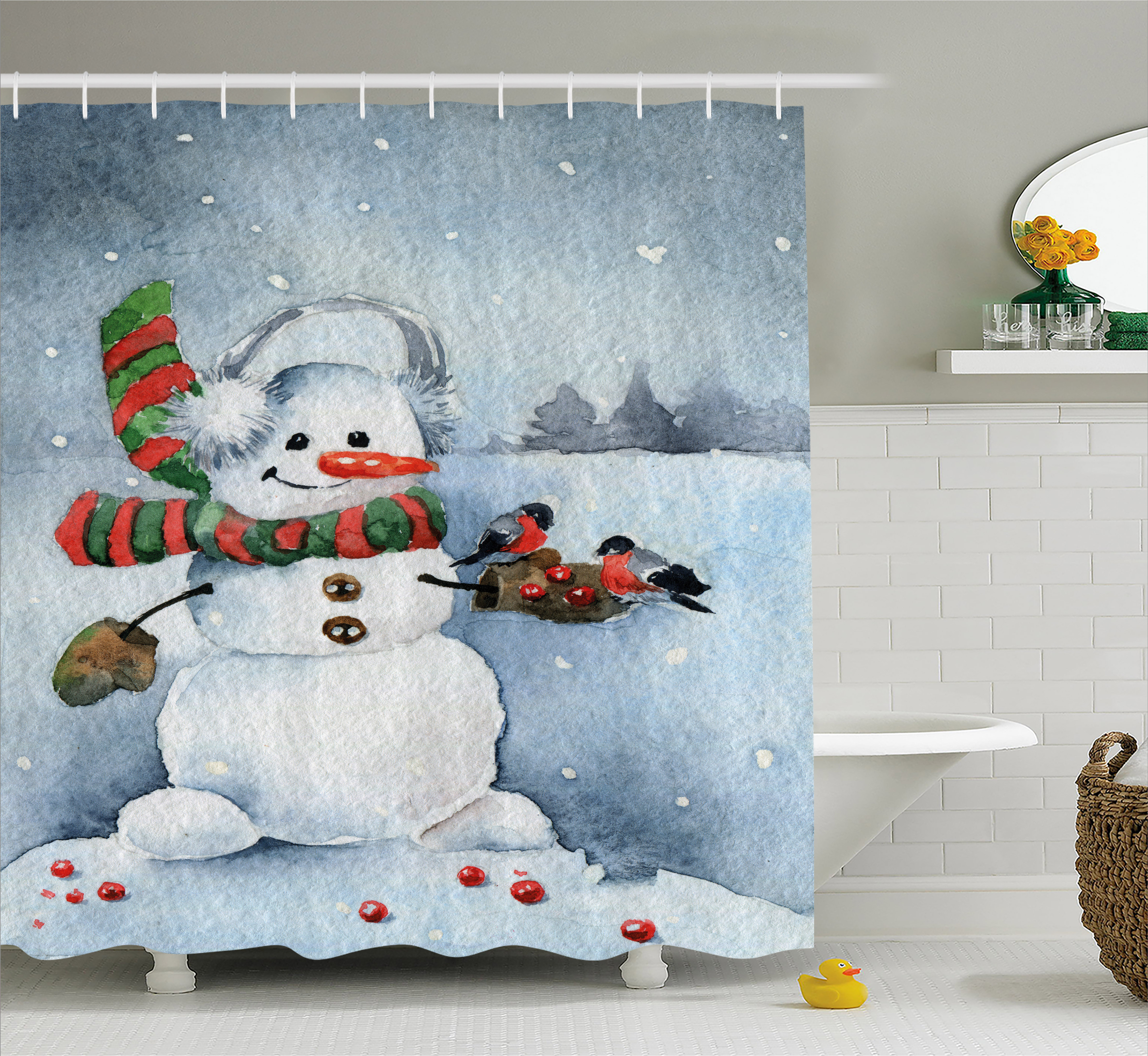 Snowman Bathroom Sets Snowman Shower Curtain Watercolor Style Snowfall Outdoors Merry Christmas Theme Winter Bullfinch Birds Fabric Bathroom Set With Hooks 69w X 70l