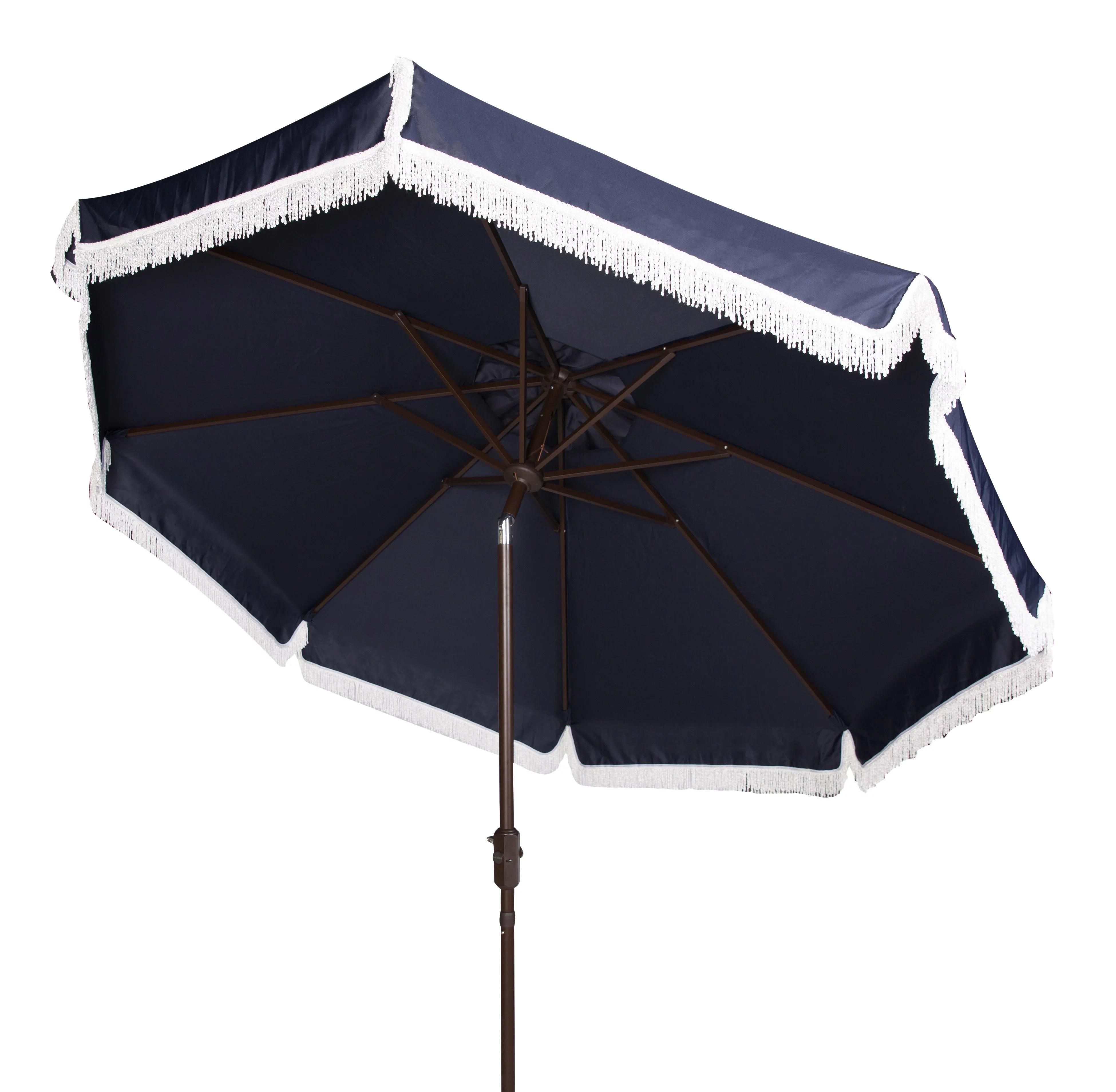 safavieh milan 9 market crank fringe tilt patio umbrella navy white walmart com