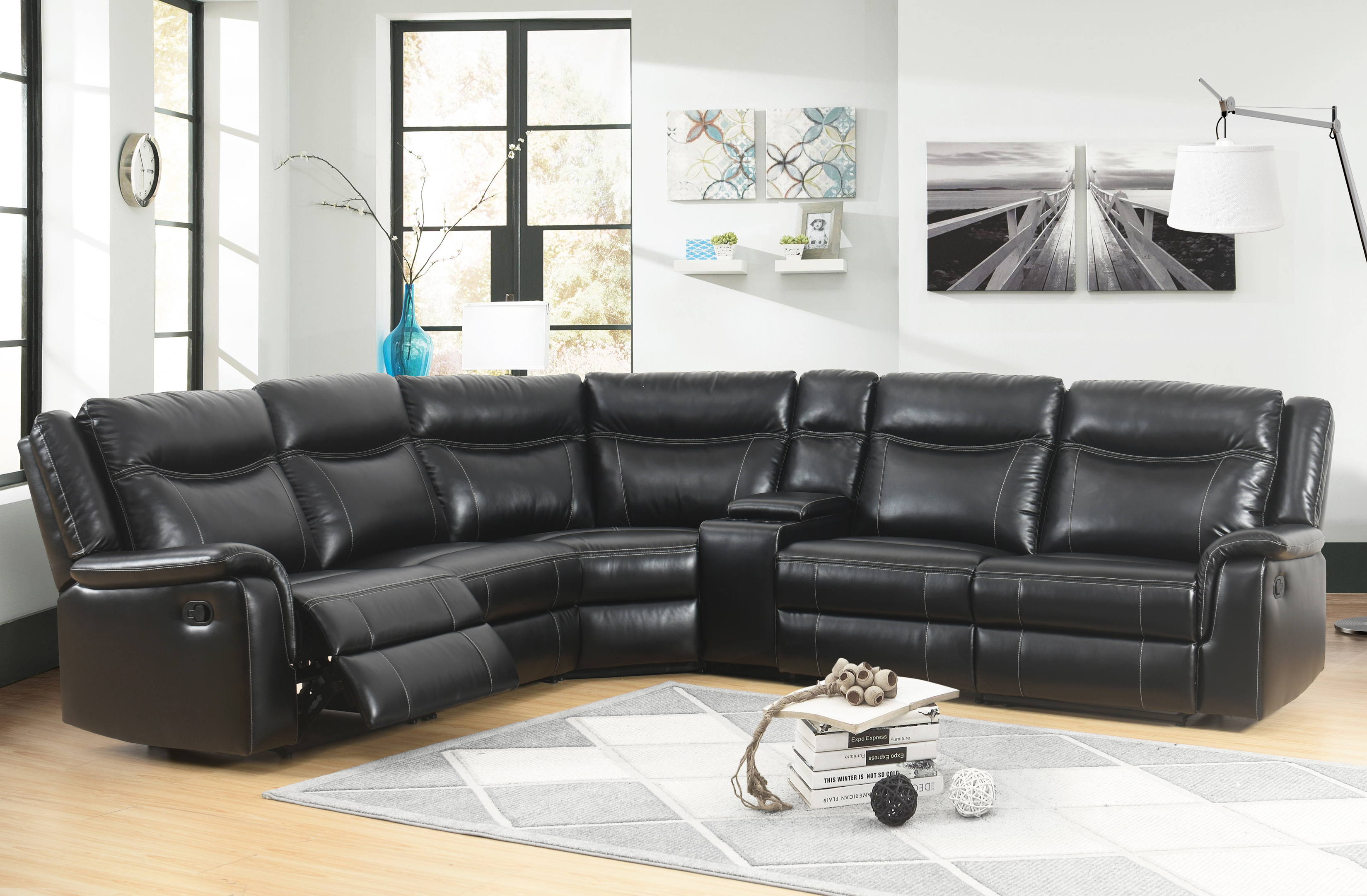 devon claire eve black reclining sectional w console 6 piece