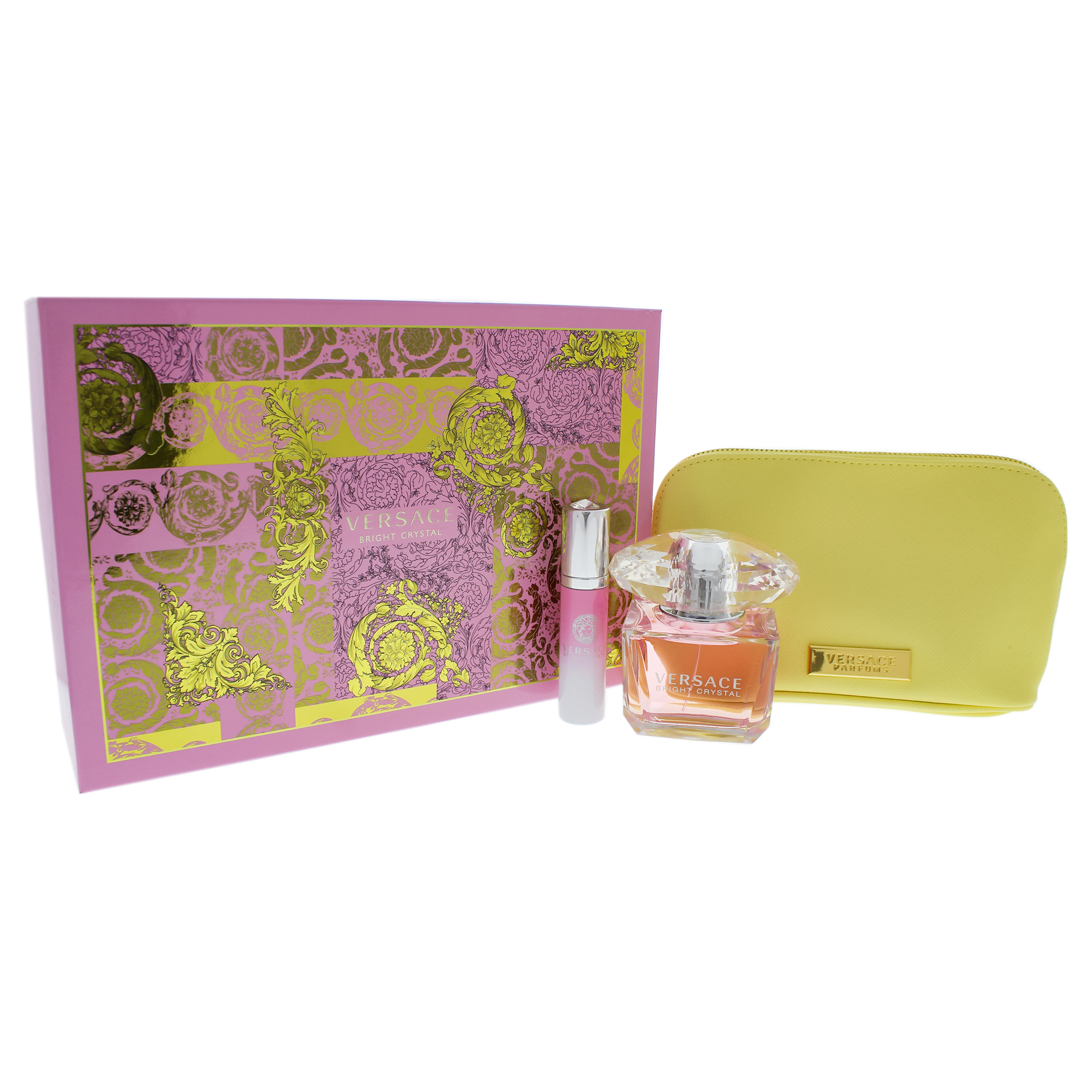 Versace Bright Crystal by Versace for Women – 3 Piece Gift Set with 3oz EDT Spray, 0.3oz EDT Spray, Versace Y