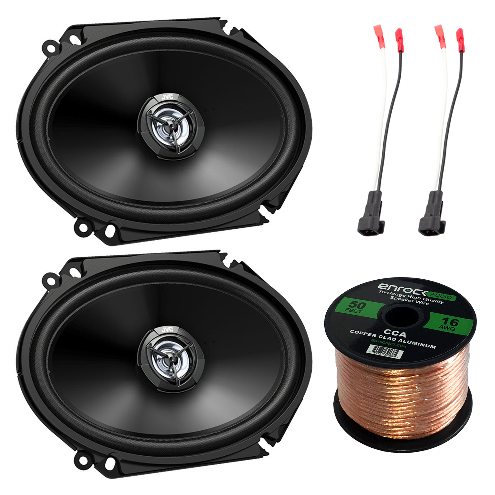 hight resolution of jvc cs dr6820 300w 6x8 2 way factory upgrade coaxial speakers efdsh98up speaker harness adapter w red bullet for select ford vehicles 1998 up