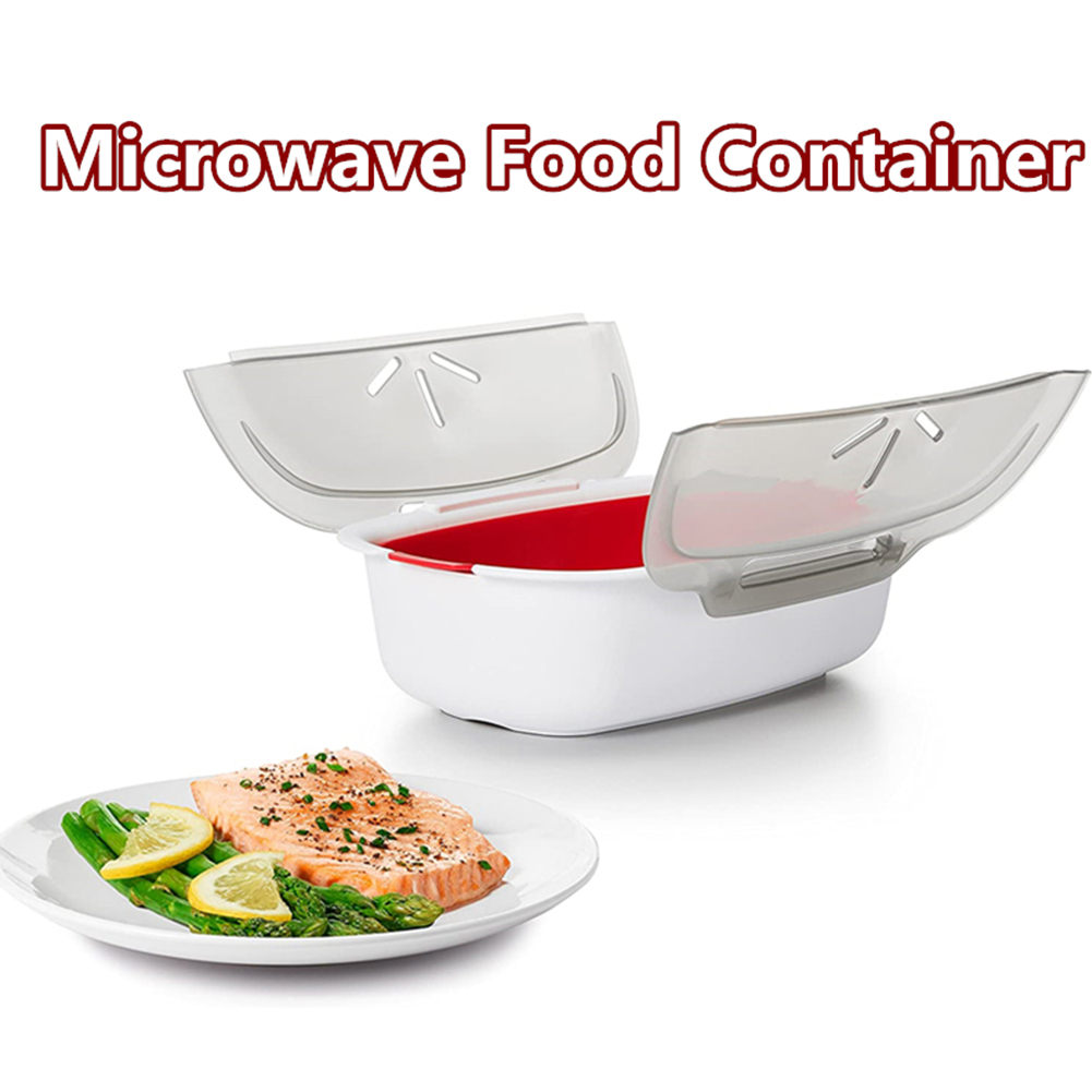 with lid vegetables food tool double layer home cookware microwave oven steaming dish food grade pp fish meat non toxic kitchen