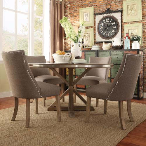 round dining table for 6 chairs rocking chair baby room inspire q abbott rustic stainless steel strap oak trestle set by artisan - walmart.com