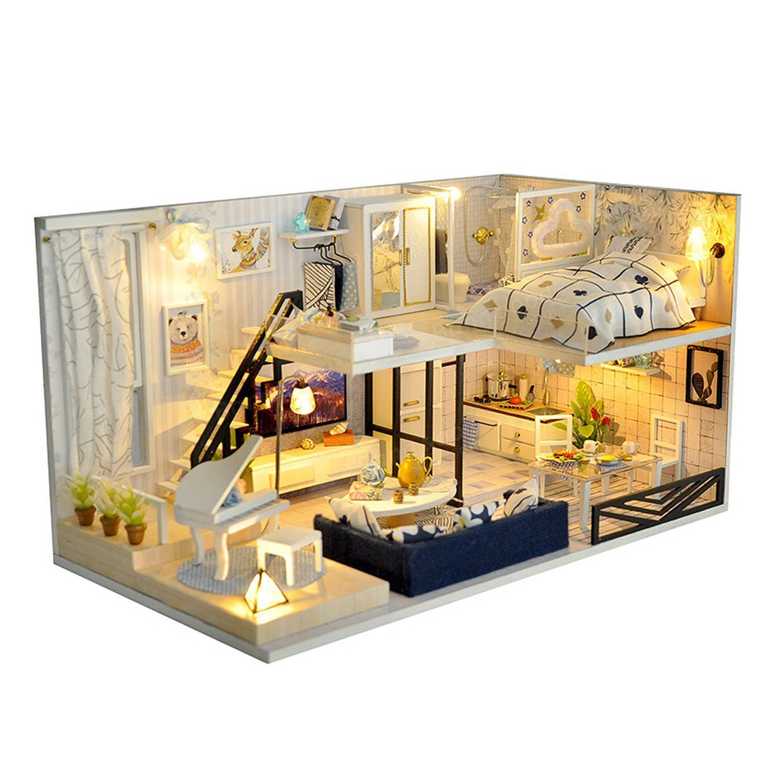 diy miniature dollhouse kit with led lights furniture dust proof 1 24 scale stem building toys mini doll house great gift for everyone of all ages