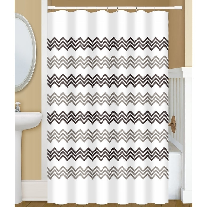 gamma extra long shower curtain 78 x 72 inch small chevron stitch print beige and brown fabric