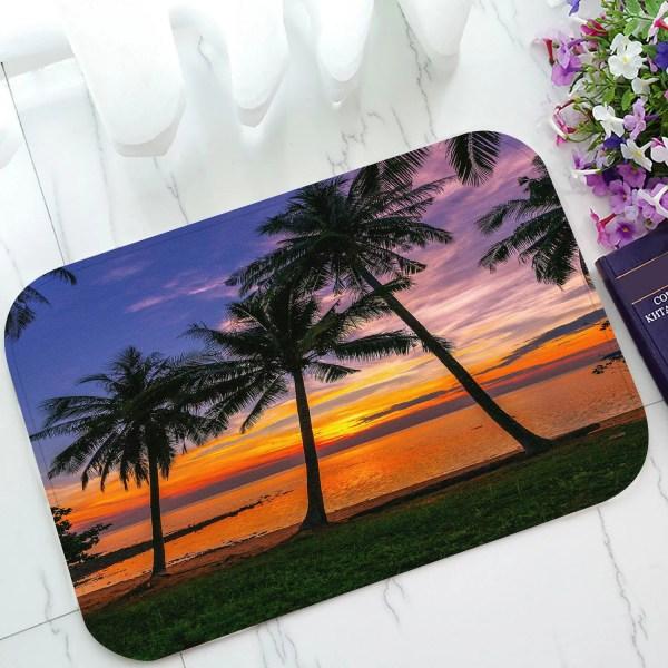 Phfzk Ocean Doormat Sunset Tropical Beach Palm Tree