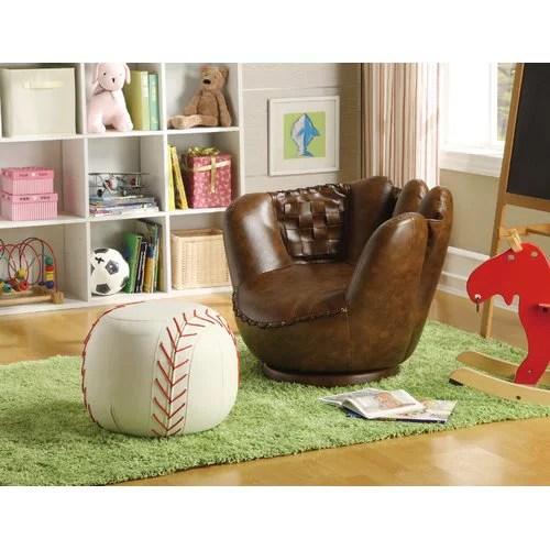 leather chair ottoman design bar chairs crown mark baseball glove kids faux and walmart com