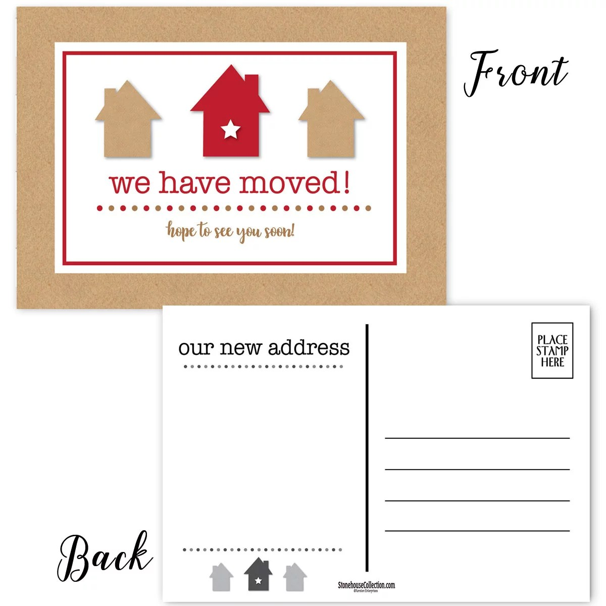 we have moved postcards