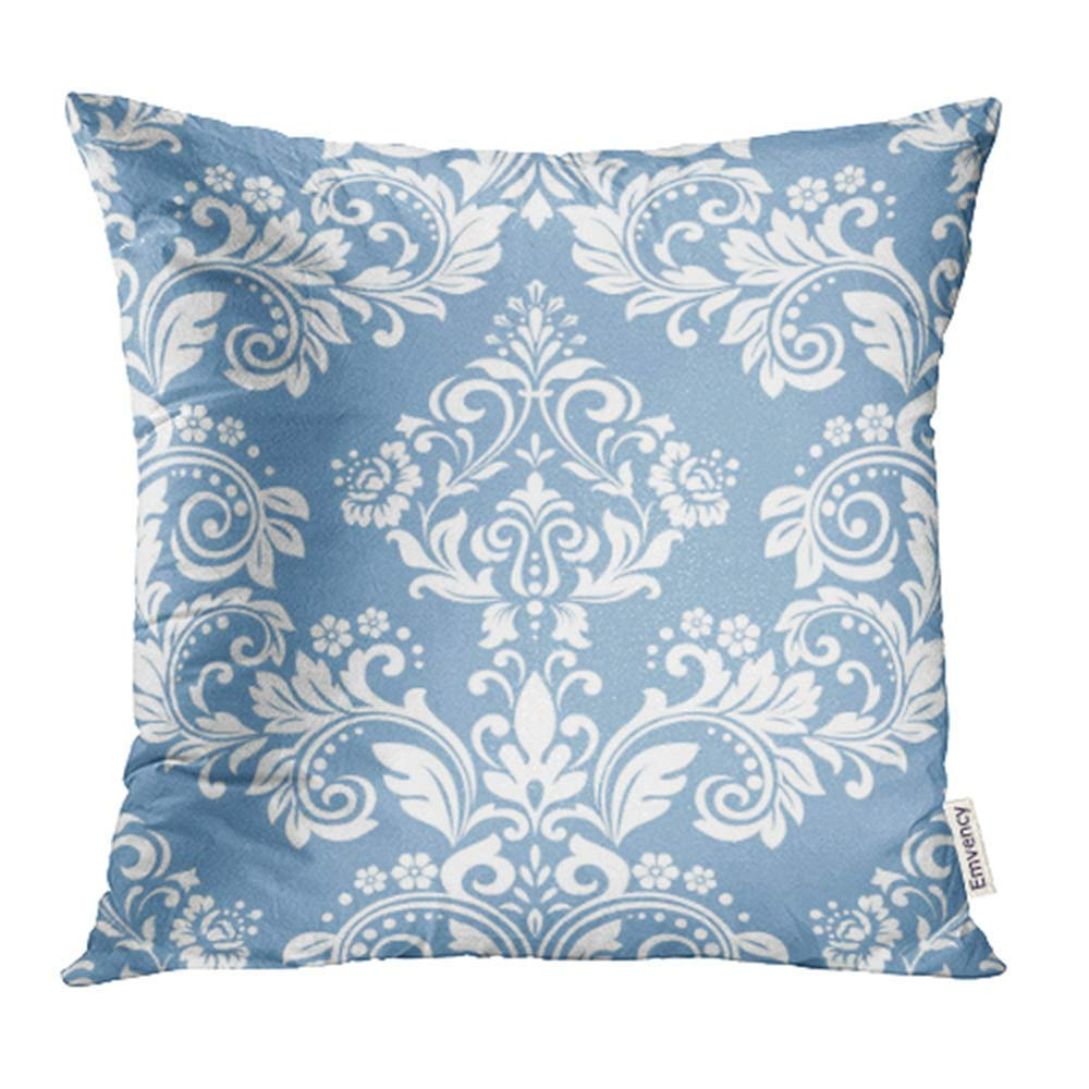 arhome victorian floral pattern baroque damask blue and white abstraction antique curtains pillow case pillow cover 20x20 inch throw pillow covers