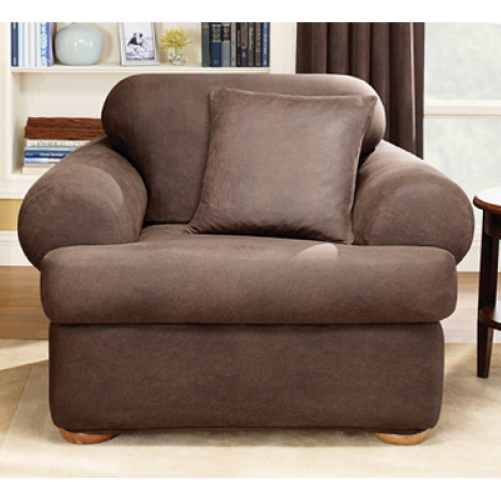 chair slipcover t cushion meditation sure fit stretch leather 2 piece brown walmart com