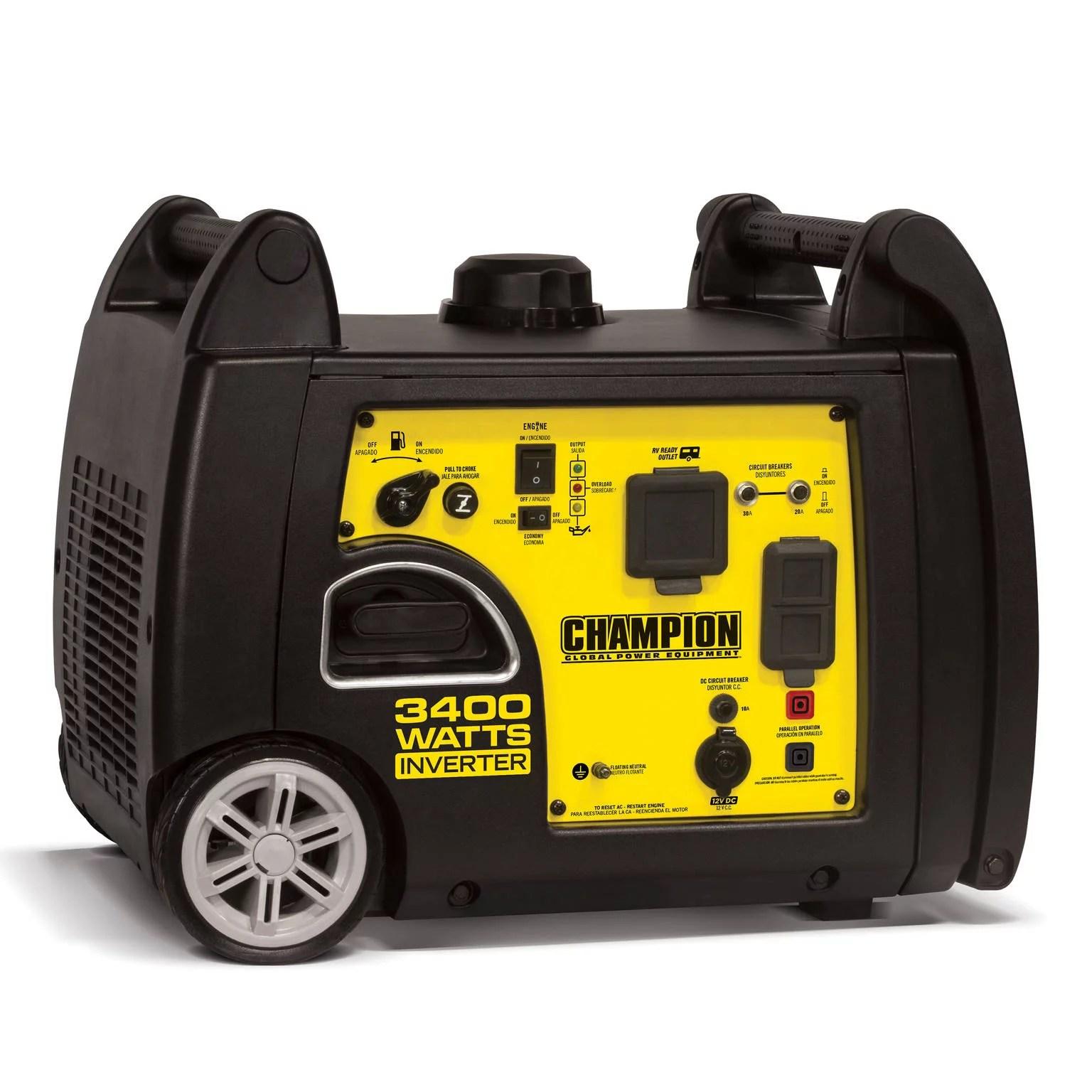 hight resolution of champion 100233 3400 watt rv ready portable inverter generator walmart com
