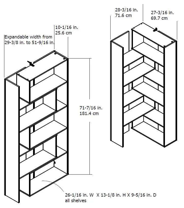 Ameriwood Home Transform Expandable Bookcase, Multiple