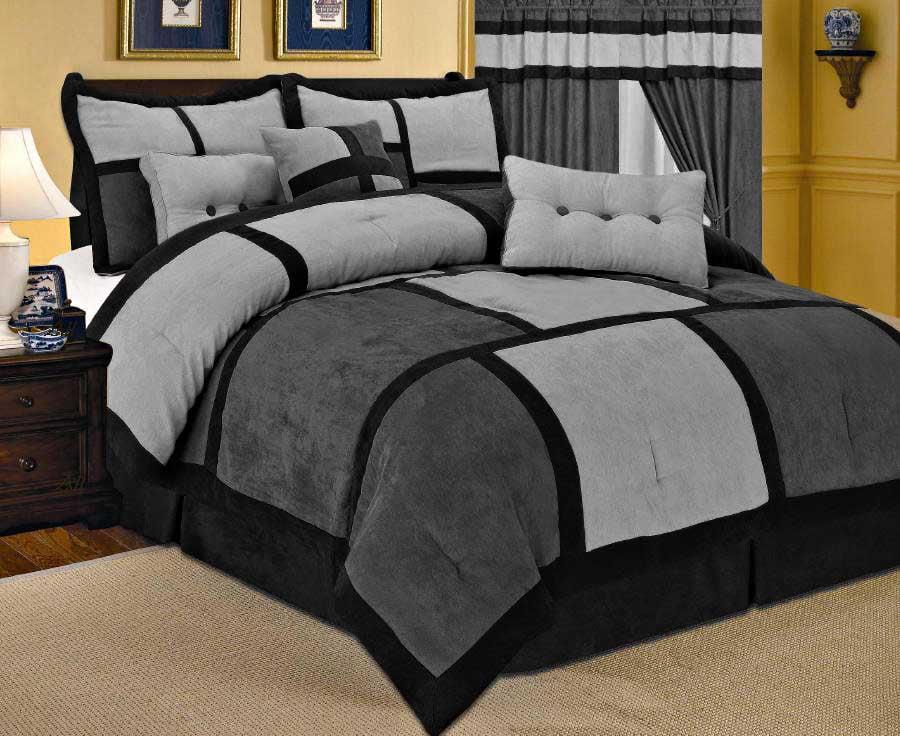 7 piece patchwork gray black micro suede comforter set queen size