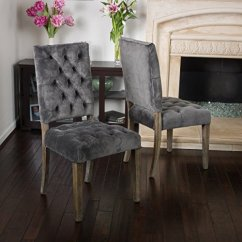 Accent Dining Chairs Baby Bath Chair For Tub Rustic Modern Velvet Upholstery Tufted High Back Set Of 2 With Oak Wood Legs Includes Modhaus Living Pen Gray Walmart Com