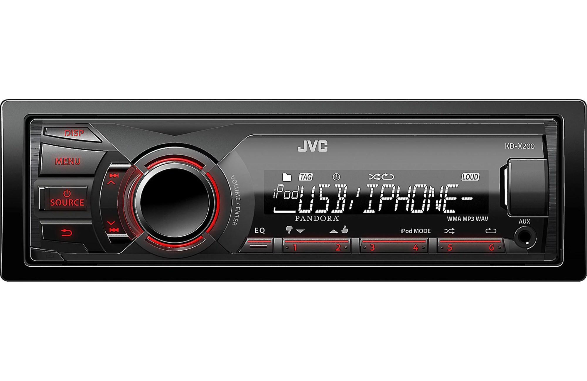 hight resolution of jvc kd x200 single din digital media receiver w usb ipod controls and pandora control walmart com