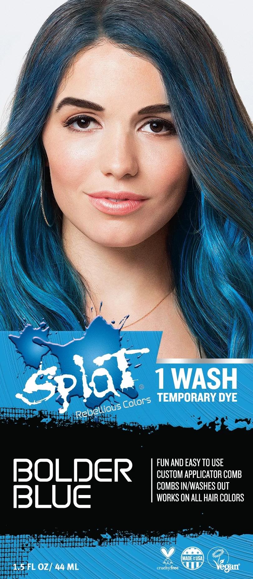 Splat 1 Wash Bolder Blue Hair Color Temporary Bleach Free ...