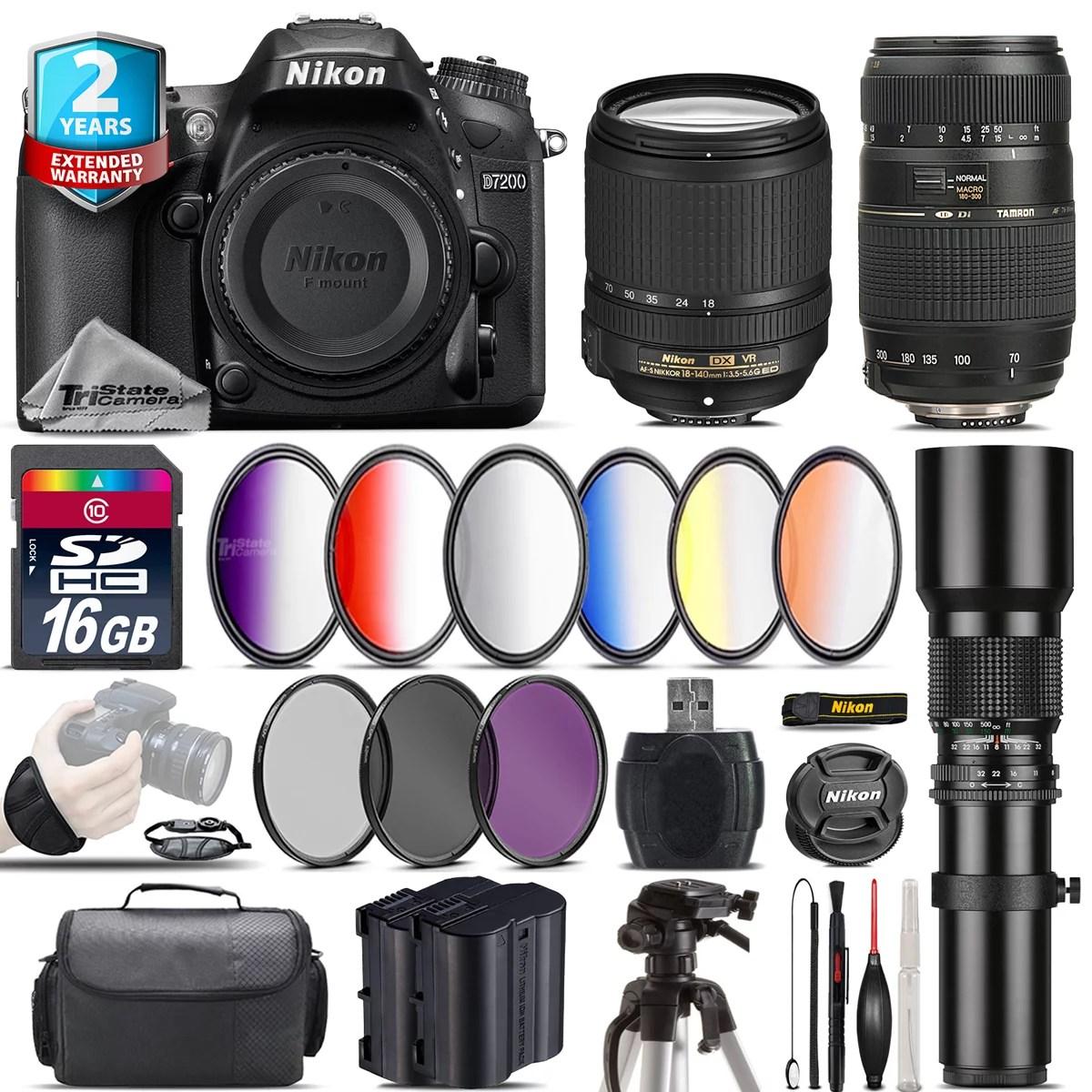 Nikon D7200 DSLR + AFS 18-140mm VR + 70-300mm Lens + Extra Battery - 16GB Bundle - Walmart.com - Walmart.com