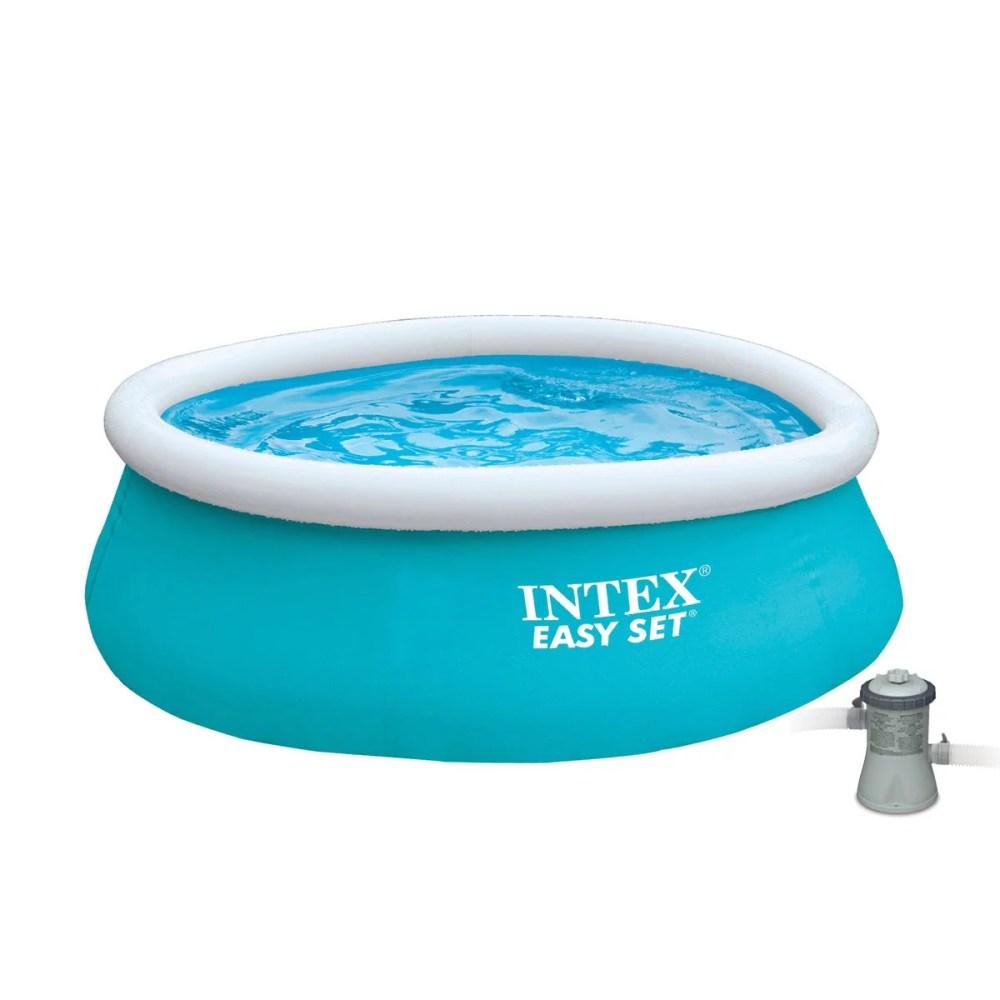 medium resolution of intex 6 x 20 easy set inflatable swimming pool with 330 ghp filter pump walmart com