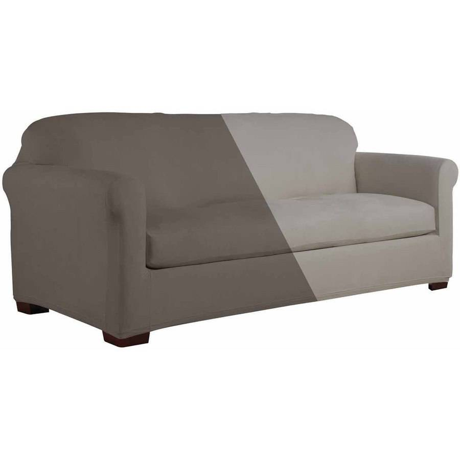 stretch 3 piece t cushion sofa slipcover stone color serta fit microsuede slipcover, wingback chair box ...