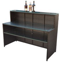 Rattan Wicker Bar Serving Table Buffet Restaurant