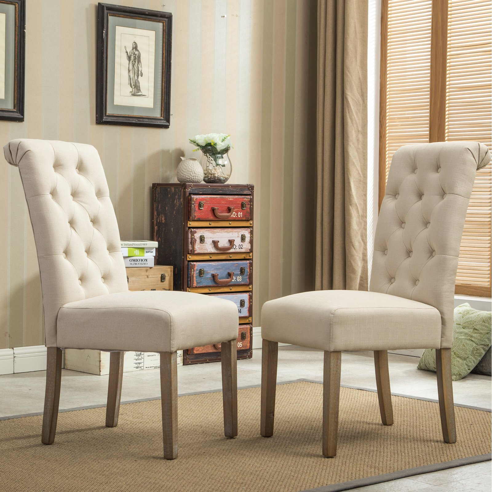 solid wood chairs stretch dining chair covers uk roundhill furniture habit tufted parsons tan set of 2