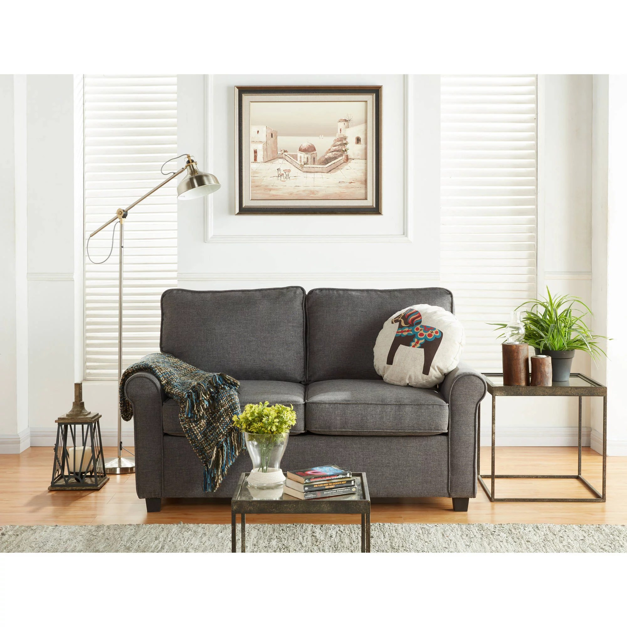 mainstays sofa sleeper with memory foam rooms to go cindy crawford 57 loveseat mattress grey walmart com