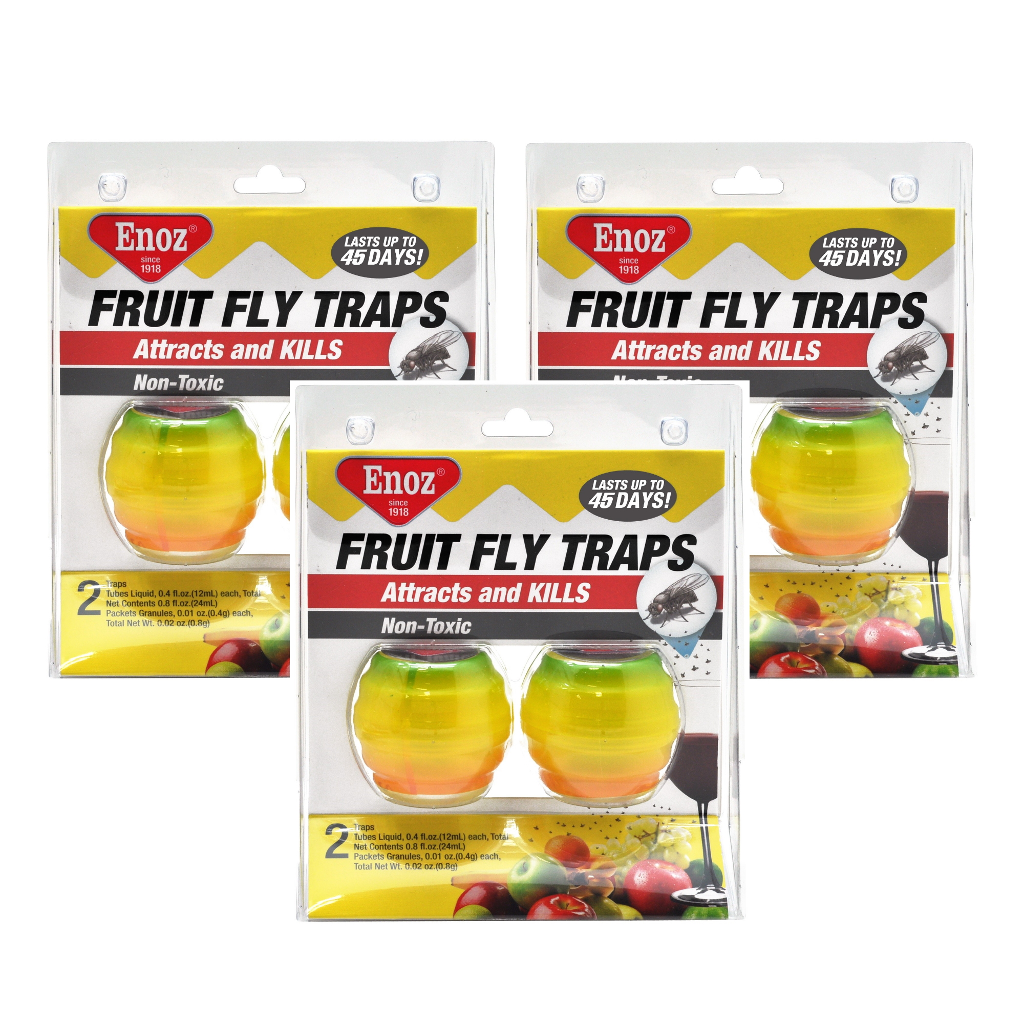 (3 Pack) Enoz Fruit Fly Trap Kitchen Fruit Fly Trap .4 Oz ...