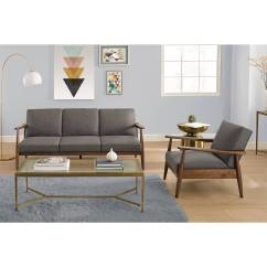 Better Homes And Gardens Living Room Pictures Duck Egg Blue Brown Ideas Flynn Mid Century Chair Wood With Linen Upholstery Walmart Com