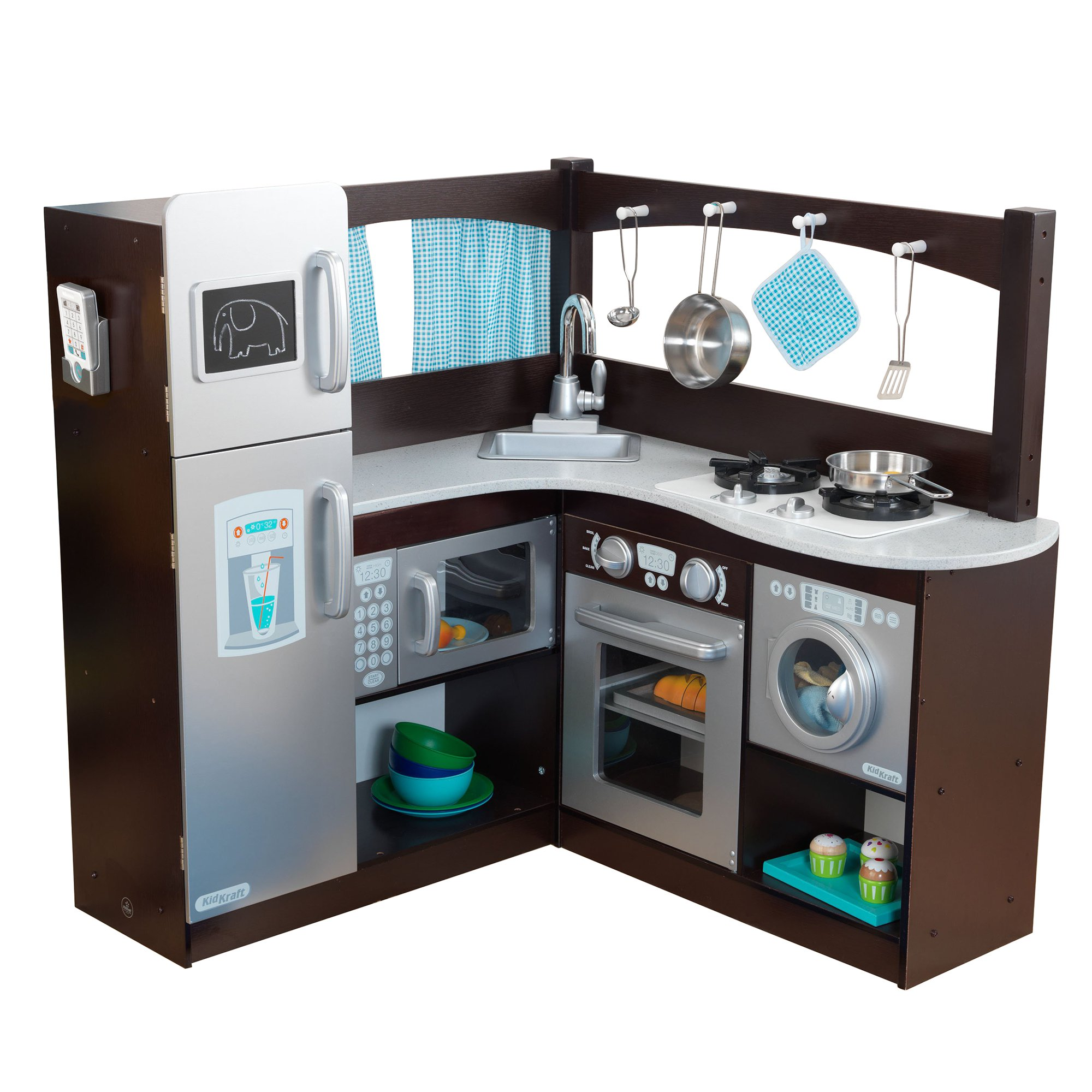 kidkraft uptown espresso play kitchen KidKraft Grand Gourmet Uptown Espresso Corner Wood Play