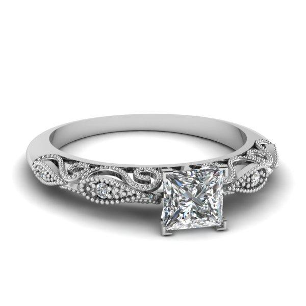 Fascinating Diamonds - 1 2 Carat Princess Cut Filigree Delicate Diamond Engagement Ring In White