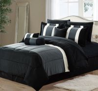 11-Piece Oversized Black & Gray Comforter Set Bedding with ...
