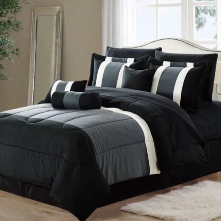 11 Piece Oversized Black Gray Comforter Set Bedding With Sheet Set King Size Walmart Com