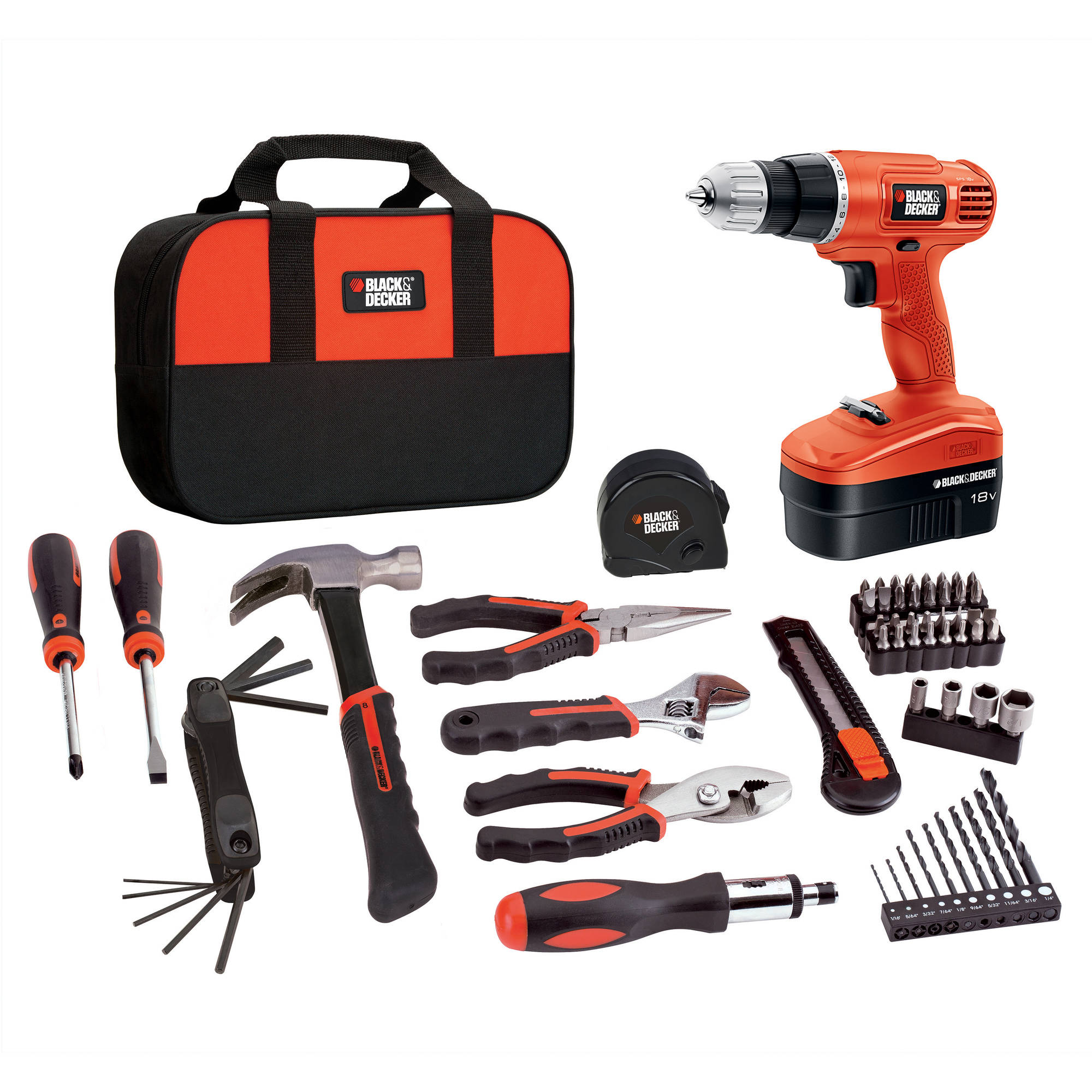 Black Decker 18v Cordless Nicad Drill Driver With 64 Piece