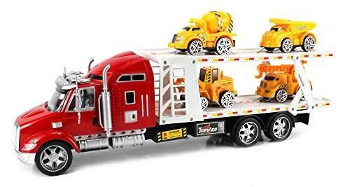 Tornado Speed Construction Trailer Toy Truck W Trailer