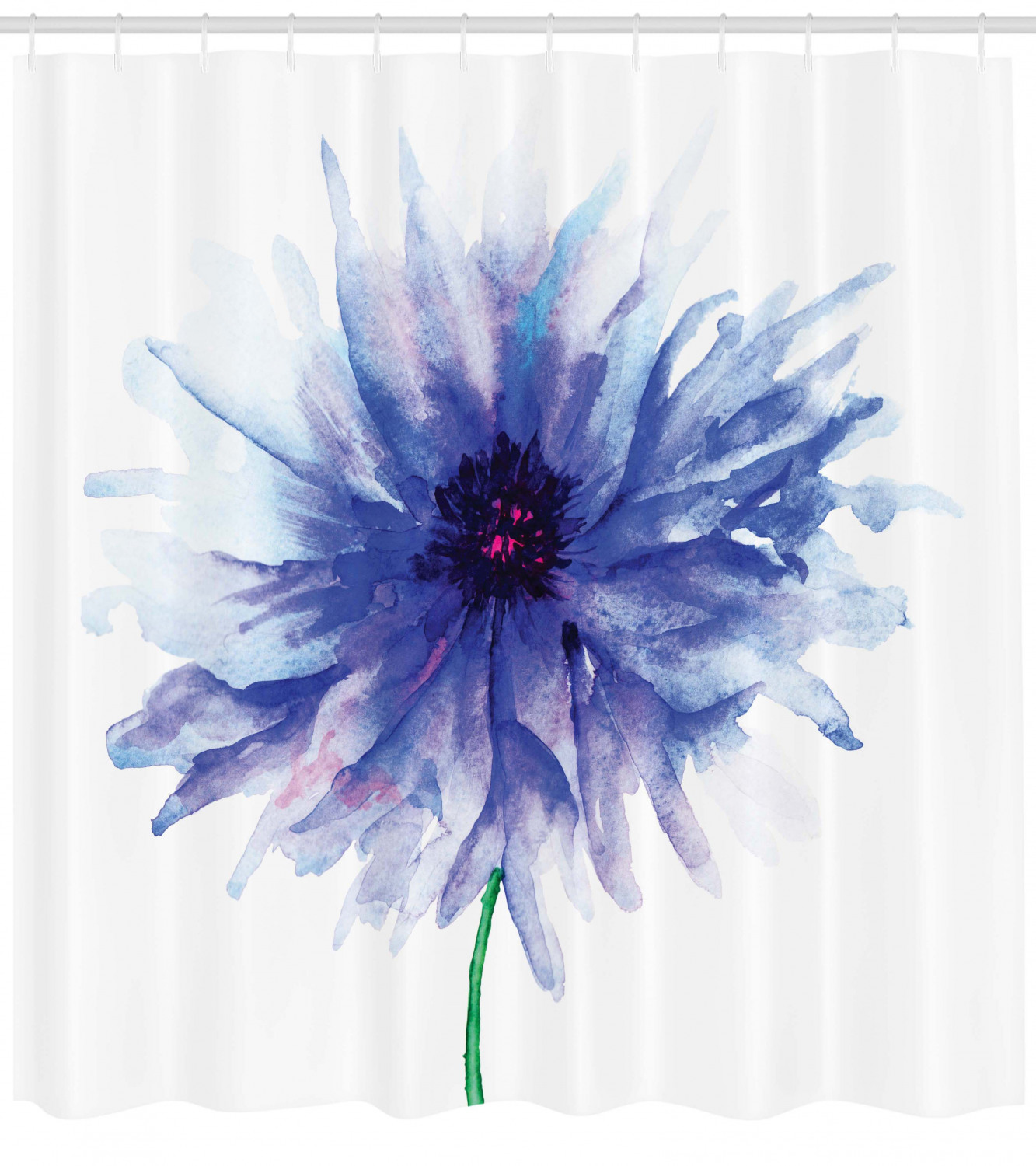 watercolor flower shower curtain single large petite cornflower plain background mother earth paint fabric bathroom set with hooks navy blue white