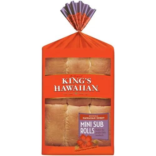 King's Hawaiian Hawaiian Sweet Mini Sub Rolls 6 ct Bag
