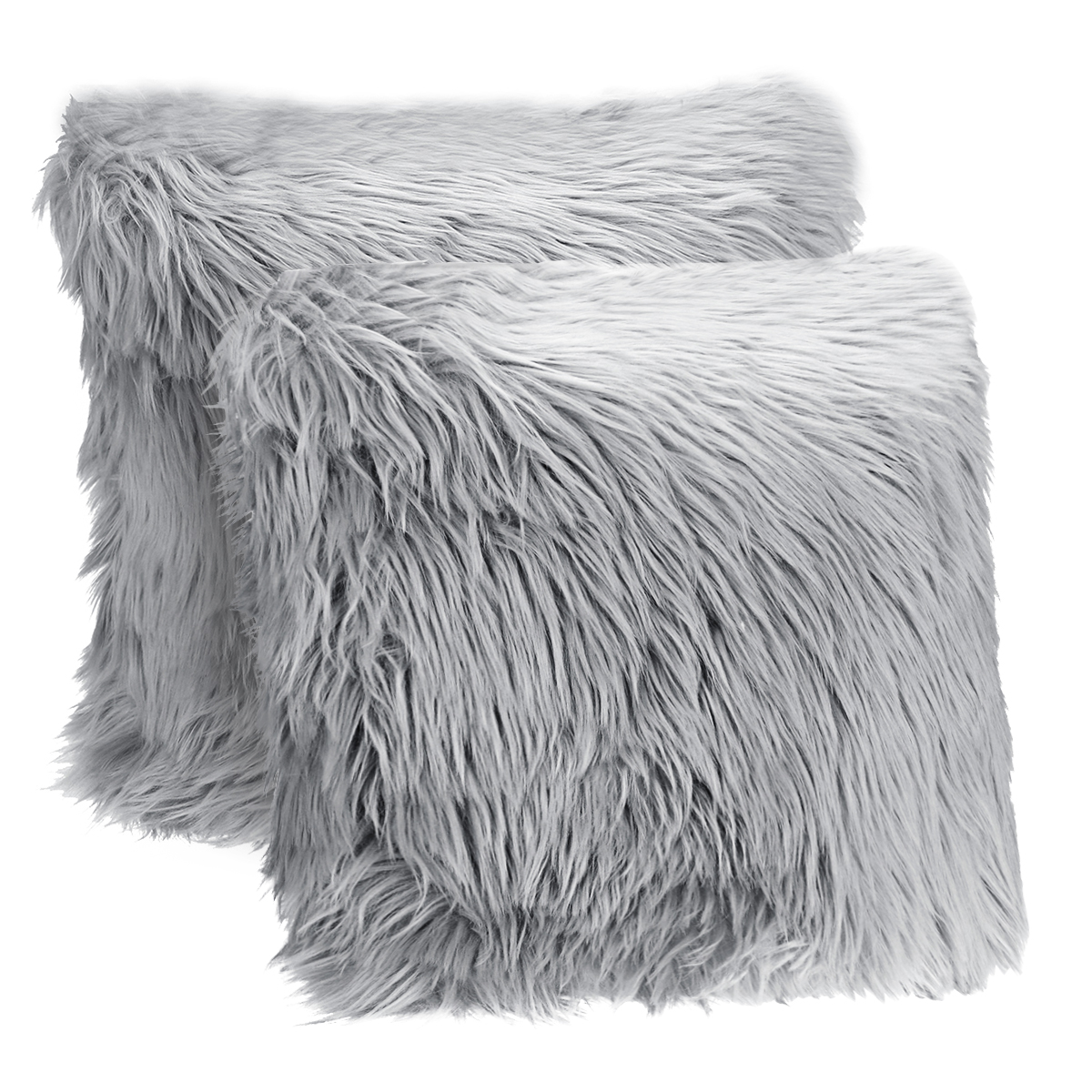 double side plush furry pillowcase faux fur throw pillow covers cushion covers luxury soft decorative fuzzy pillow covers for bed couch grey 18x18