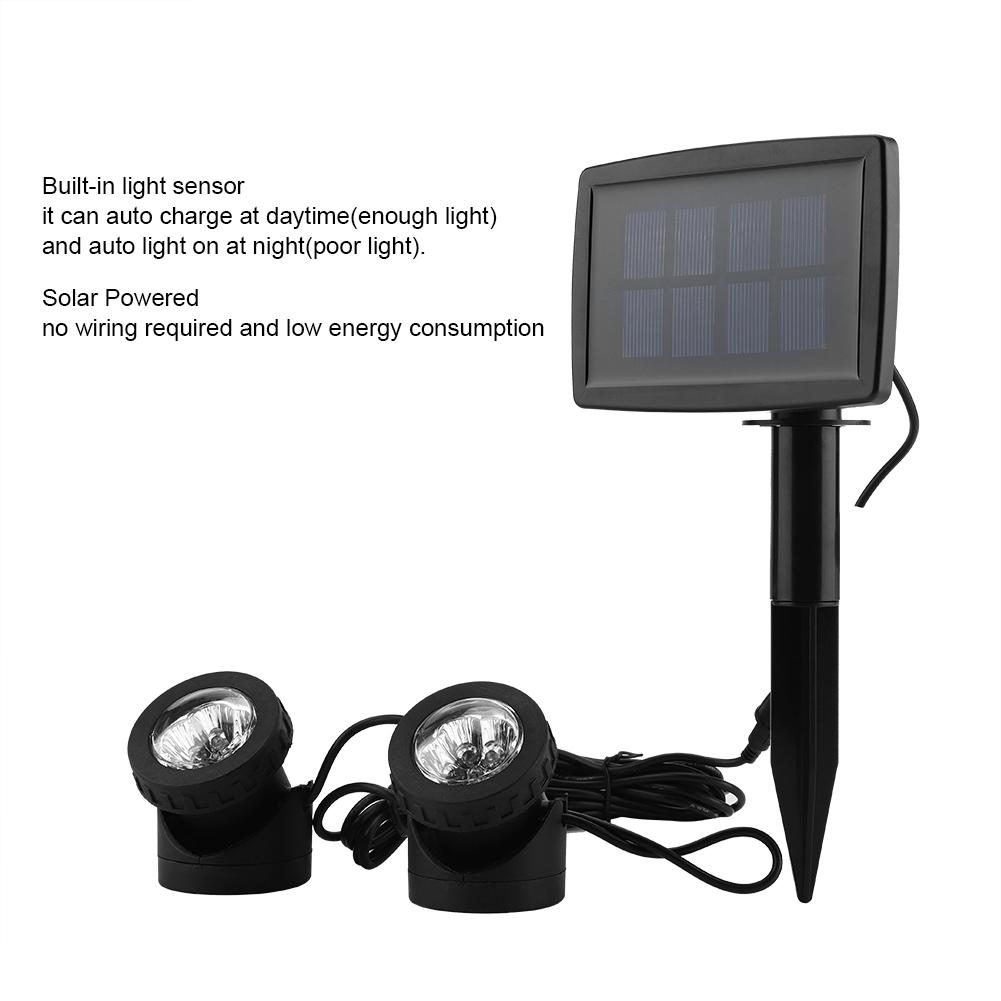 hight resolution of filfeel solar power 12led dual head underwater lamp spotlight outdoor garden pond lighting white light solar outdoor lamp solar underwater light walmart