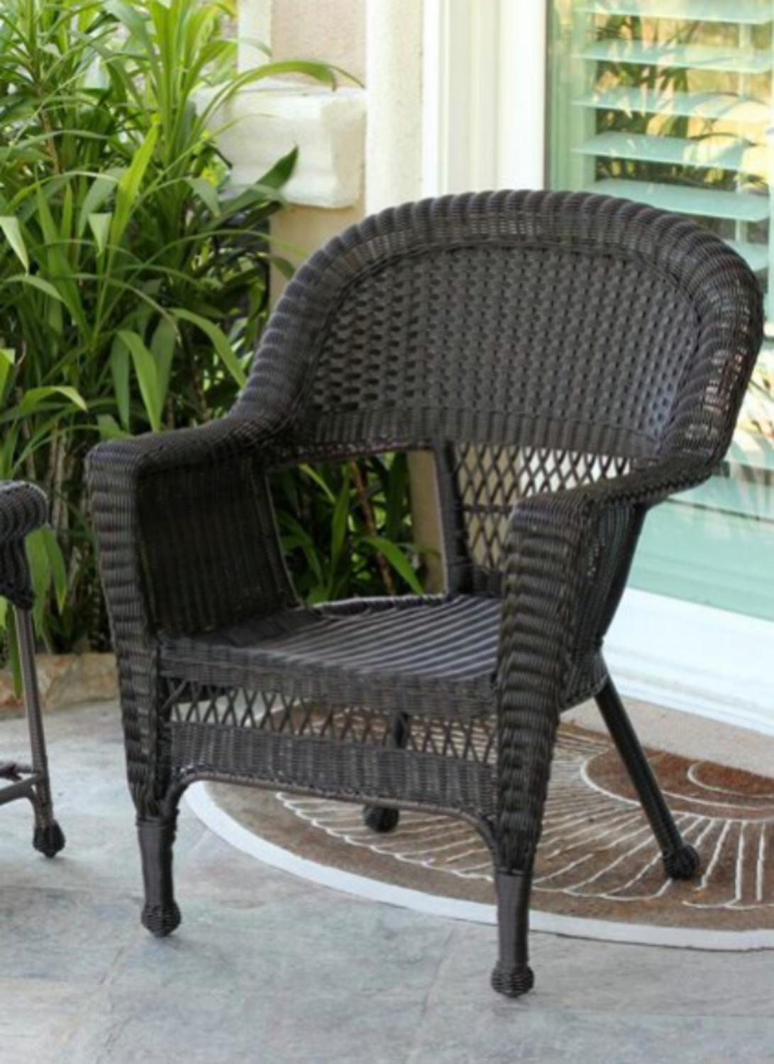 Set of 4 Espresso Brown Resin Wicker Outdoor Patio Garden
