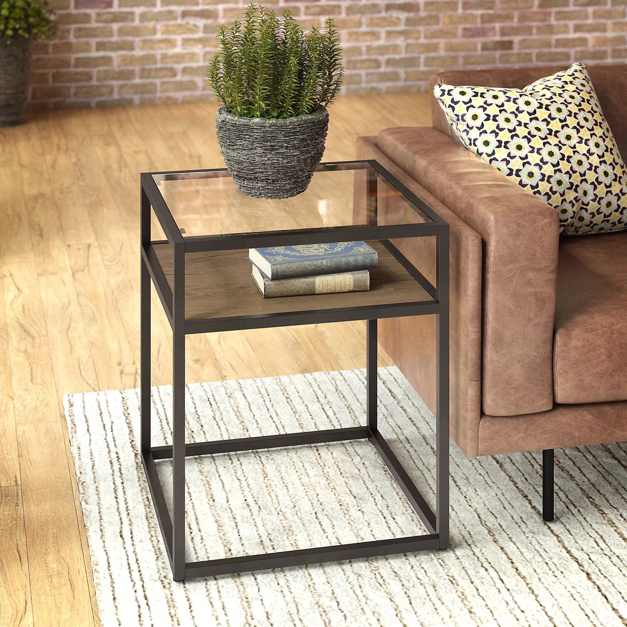 bush furniture anthropology glass top end table in rustic brown embossed