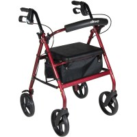 Red Rollator Walker with Fold Up Removable Back Support