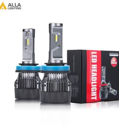 alla lighting h8 h9 h11 led headlight bulbs xtremely super bright s hcr h11 headlamp conversion kits fog light drl bulb 6000k xenon white set of 2  [ 1500 x 1500 Pixel ]