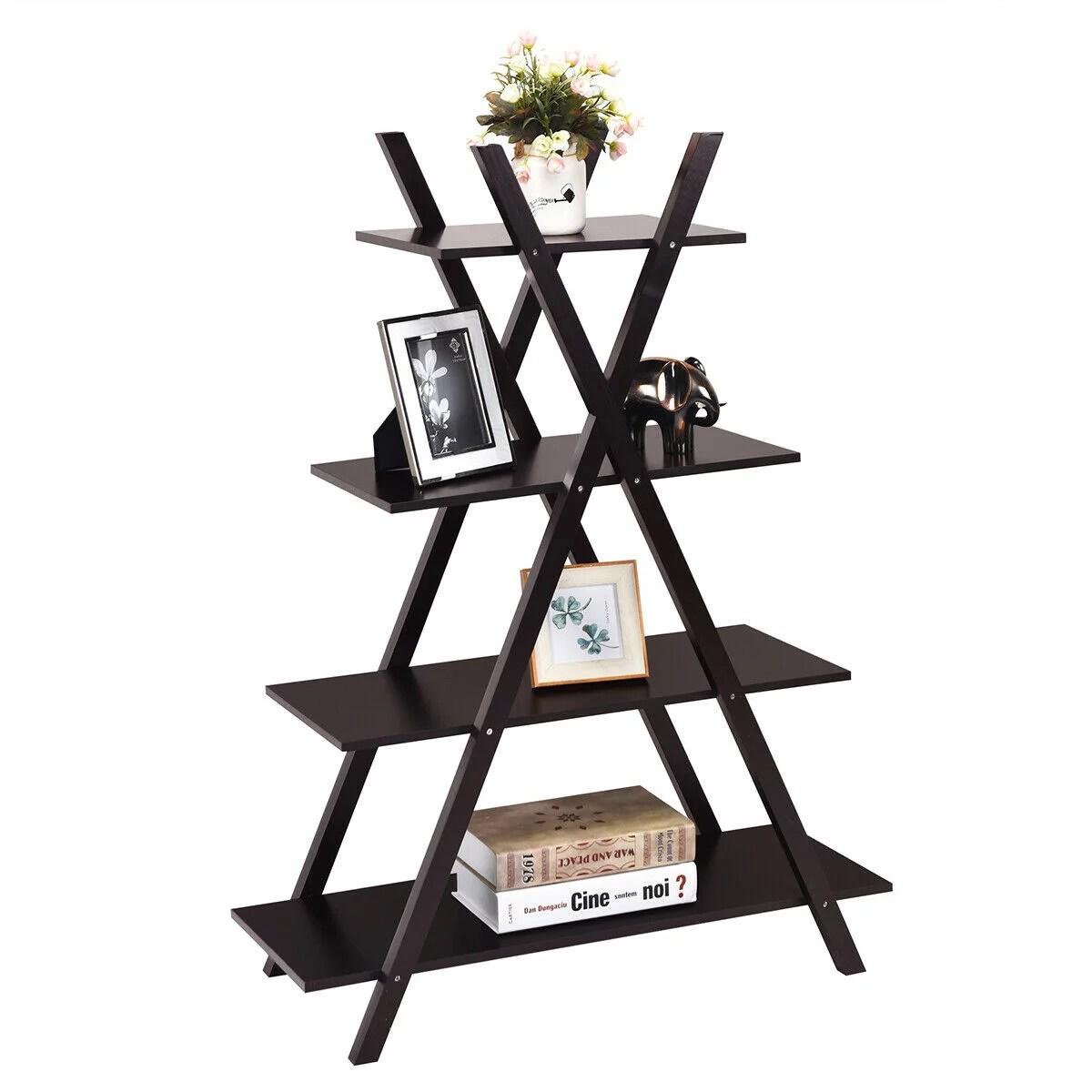 Costway 4 Tier Bookshelf Storage Display Shelves Bookcase Ladder X Shape Brown