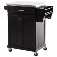 HOMCOM Wood Stainless Steel Rolling Kitchen Island Utility ...
