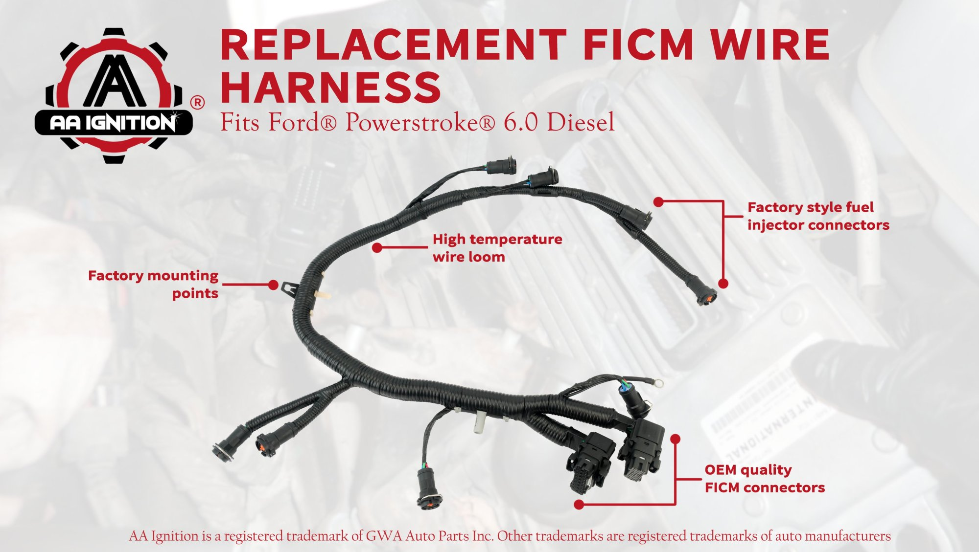 hight resolution of ficm engine fuel injector complete wire harness replaces part 5c3z9d930a ford powerstroke 6 0l diesel 2003 2004 2005 2006 2007 f250 f350 f450