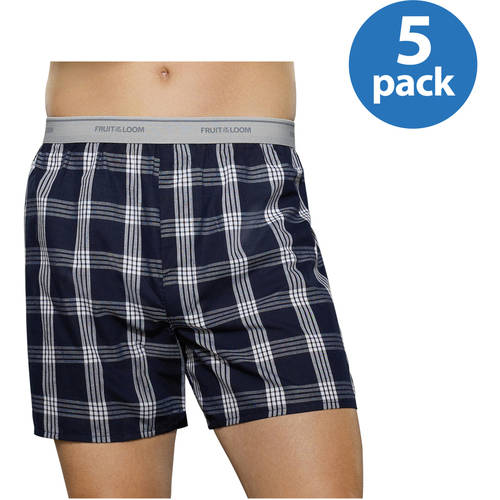 Fruit of the Loom Men's Fashion Plaid Boxers, 5-pack