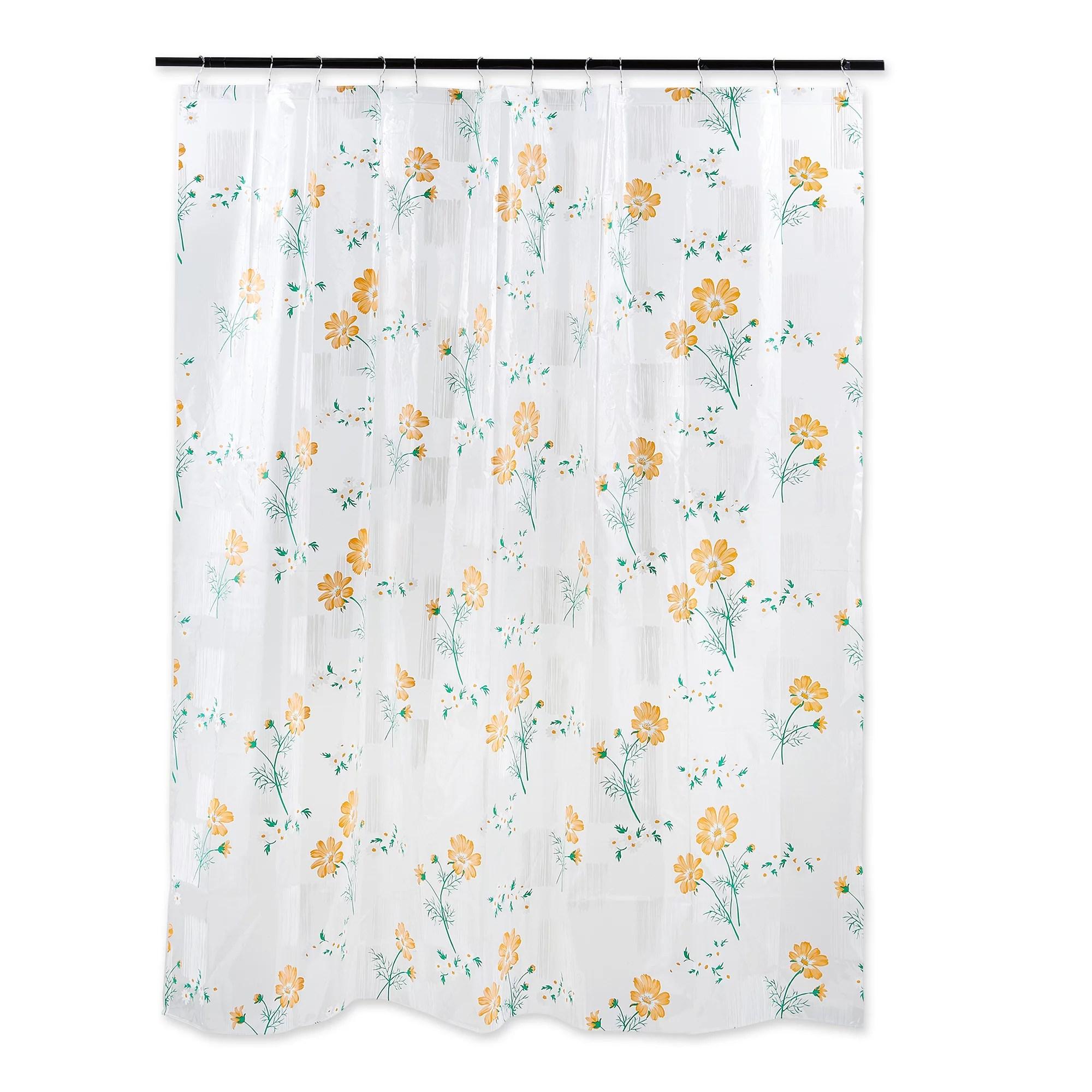 6 orange and green floral print home and bathroom essentials shower curtain walmart com