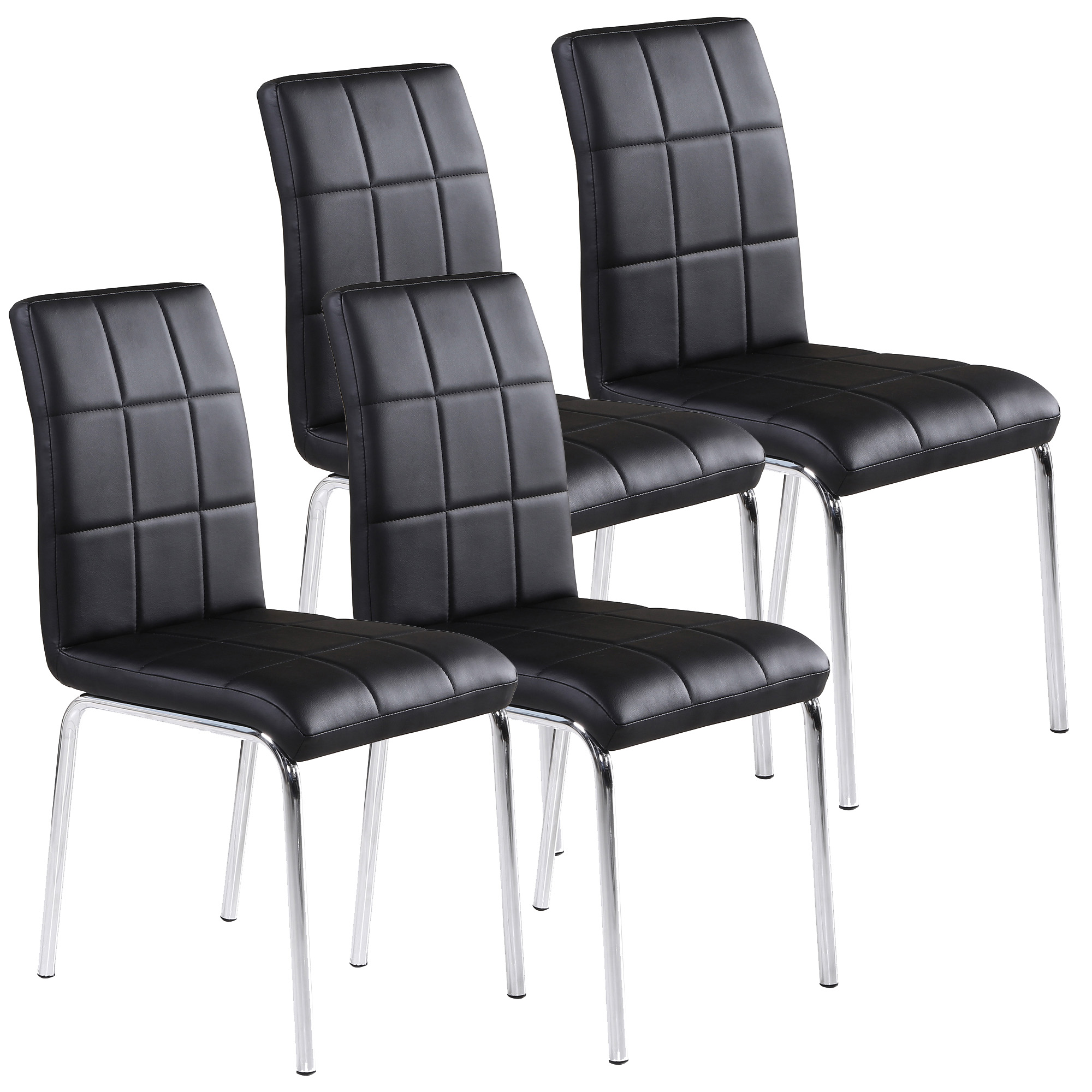 leather chrome chair navy blue wooden rocking faux side black set of 4 walmart com