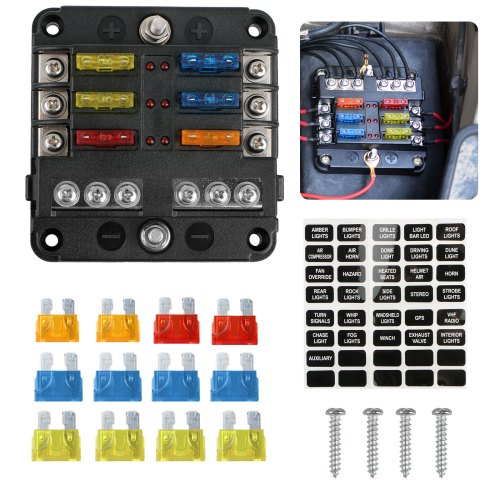 small resolution of 6 circuit blade fuse block 6 way fuse box block holder durable protection cover sticker lable for automotive car boat marine suv bus subway walmart com