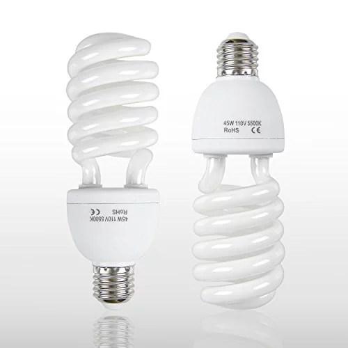 emart full spectrum light bulb 2 x 45w 5500k cfl daylight for photography photo video studio lighting